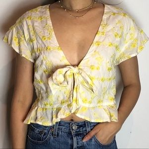 TULAROSA White & Yellow Patterned Front Tie Top